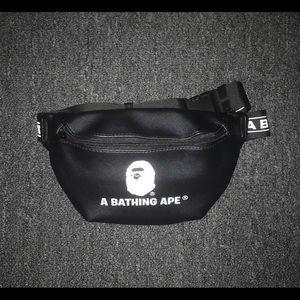 A Bathing Ape Fanny Pack Black Bag  *NEW*
